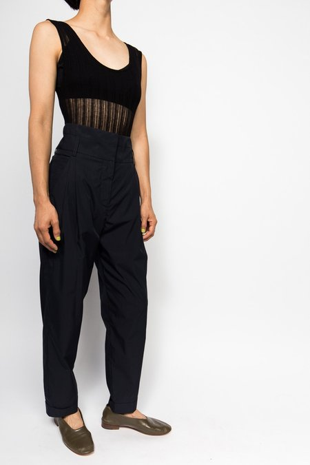 Suzanne Rae High Waist Pleat Trouser - Blue/Black