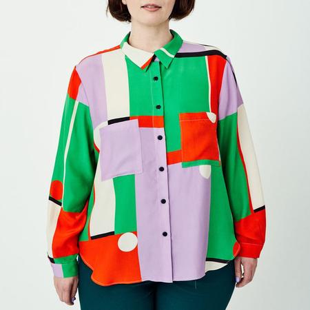 Dusen Dusen Silk Work Shirt - Field Print