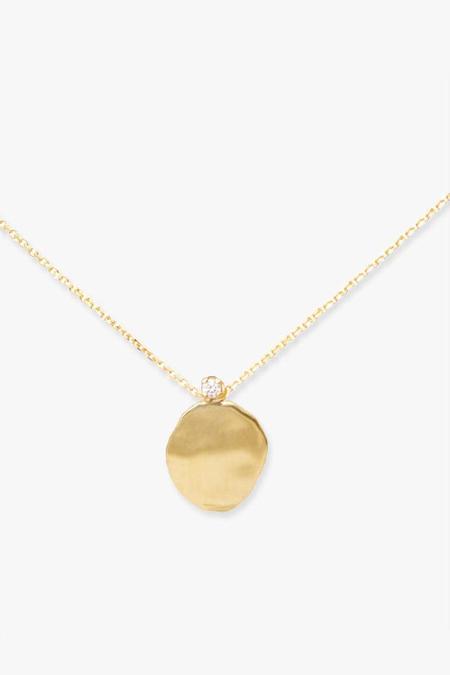 WWAKE Large Disc Diamond Necklace - Gold