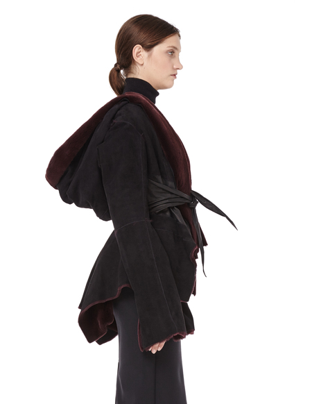 HUN Rick Owens Double-faced Mink Fur Jacket - Burgundy