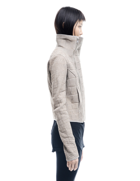 HUN Rick Owens Crocodile Leather Jacket - Beige