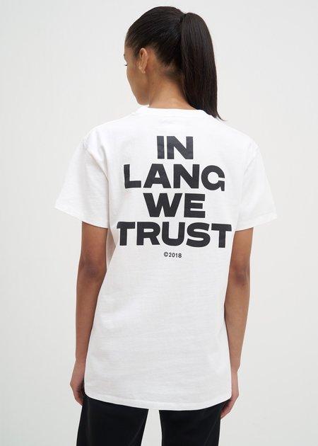 UNISEX Helmut Lang Brian Roettinger Logo Hack T-Shirt - Chalk White