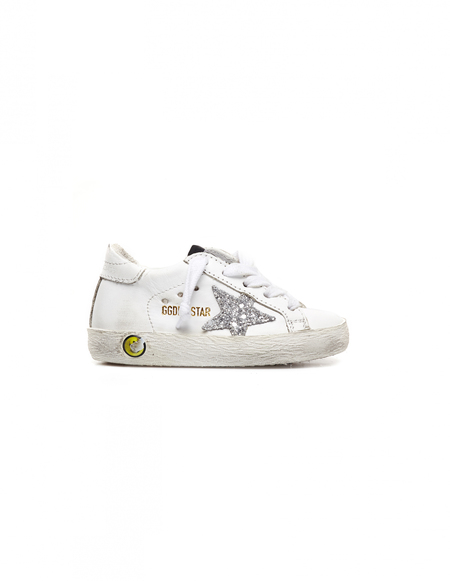 Kids Golden Goose Leather Sneakers - White