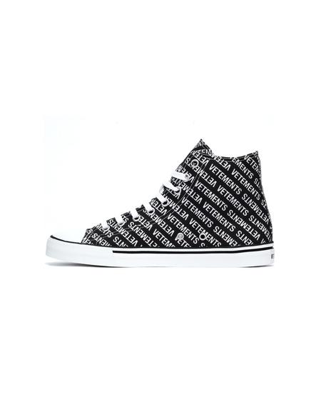 Vetements High-Top Printed Logo Sneakers - Black