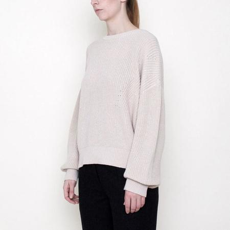 7115 by Szeki Poet Long Sleeved Ribbed Knit Cotton Sweater - Beige