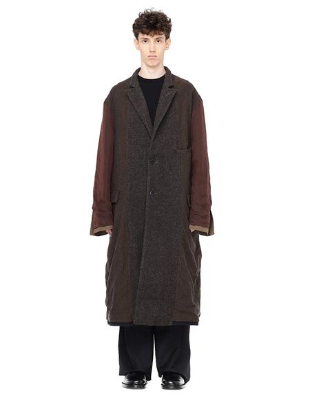 Ziggy Chen Reversible Wool Panelled Coat - Brown