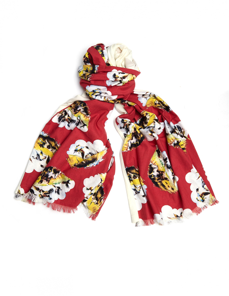 John Undercover Cotton/Wool Scarf - Multicolor