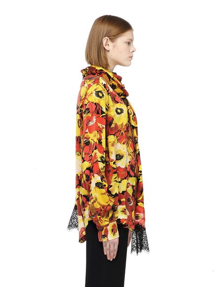 Faith Connexion Oversized Flower Printed Silk Blouse - Multicolor