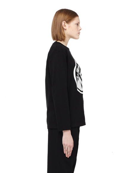 Blackyoto Printed Long Sleeve Cotton T-Shirt - BLACK