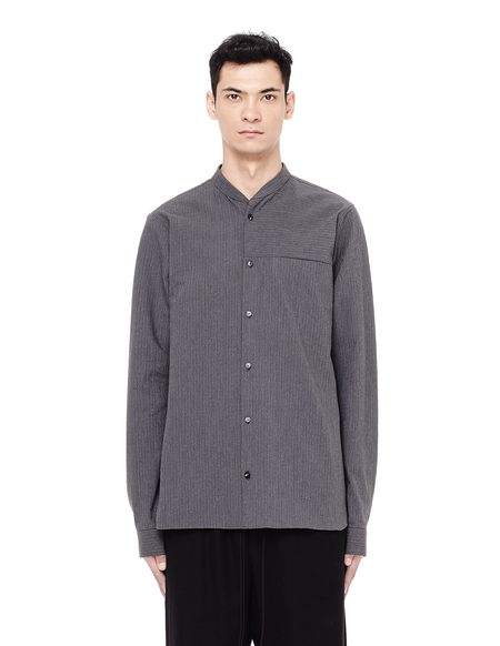 Avialae Stand-up Collar Striped Shirt - GRAY