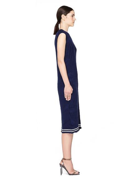 Maison Margiela Ribbed Knit Sleeveless Dress - Blue