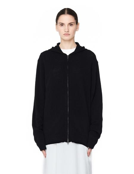 Blackyoto Embroidered Cashmere Zip Up Hoodie - BLACK