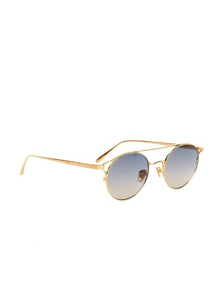 Linda Farrow Round Luxe Sunglasses - Golden