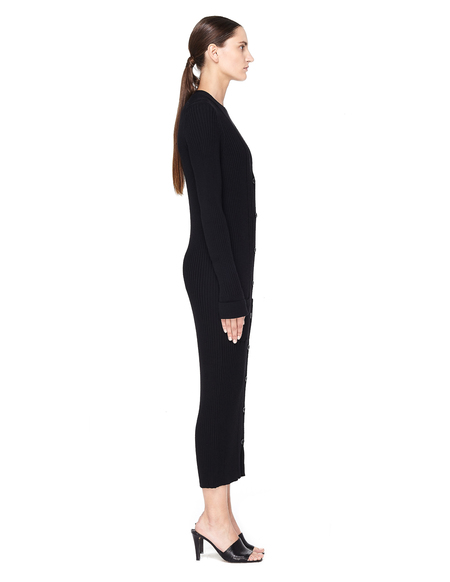 Maison Margiela Long Wool Ribbed Cardigan - Black