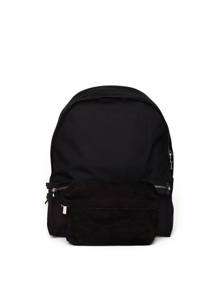 Hender Scheme Nylon Backpack with Suede Pocket - Black