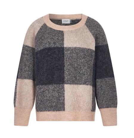 Charli London Bethanie Sweater - CAMEL/DARK GREY CHECK