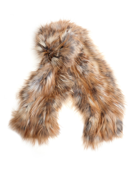 Backlash Knitted fox fur scarf - ORANGE