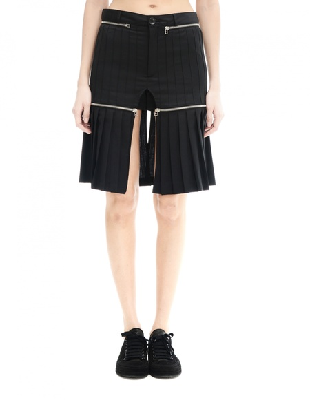 Hood By Air Wool Shorts with Upper Skirt - Black