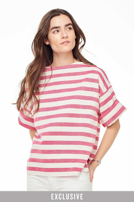 Proud Mary Exclusive Huipile Stripe Top - Pink/White