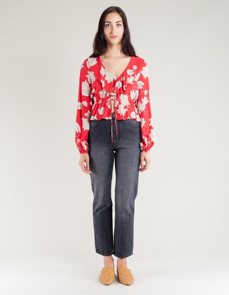 Rollas Ruffle Blouse - Rouge Waterlily