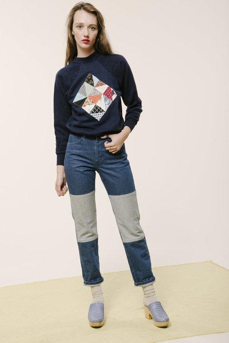 Carleen Patchwork Sweatshirt - Navy