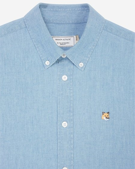 Maison Kitsune Fox Head Embroidery Classic Shirt - Blue Chambray