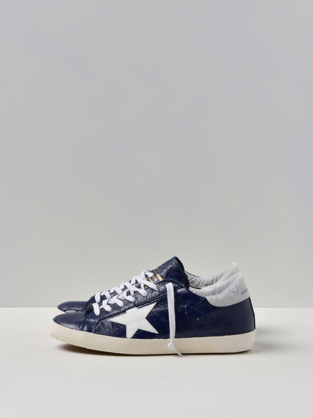 GOLDEN GOOSE DELUXE BRAND SNEAKERS SUPERSTAR - BLUE OSTRICH PRINTWHITE STAR