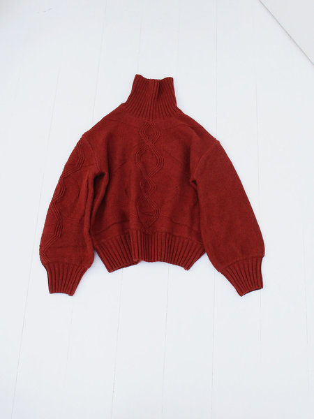 House of Sunny Turtleneck Cableknit Jumper - Reddish Brown