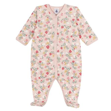 KIDS Petit Bateau Baby Pyjama With Feet - Pink With Flowers
