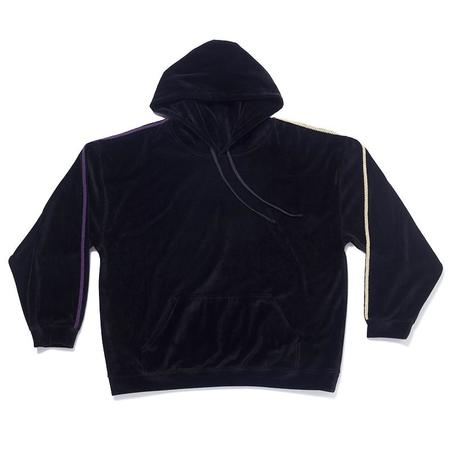 S.K. Manor Hill Velour Hoodie Sweatshirt - Black w/ Braid