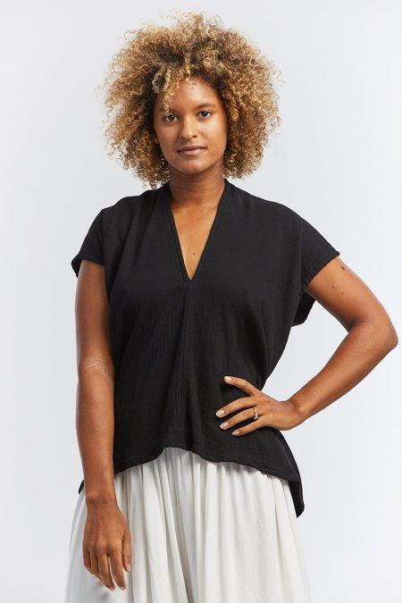 Miranda Bennett  Lined Cotton Gauze  Everyday Top - Black