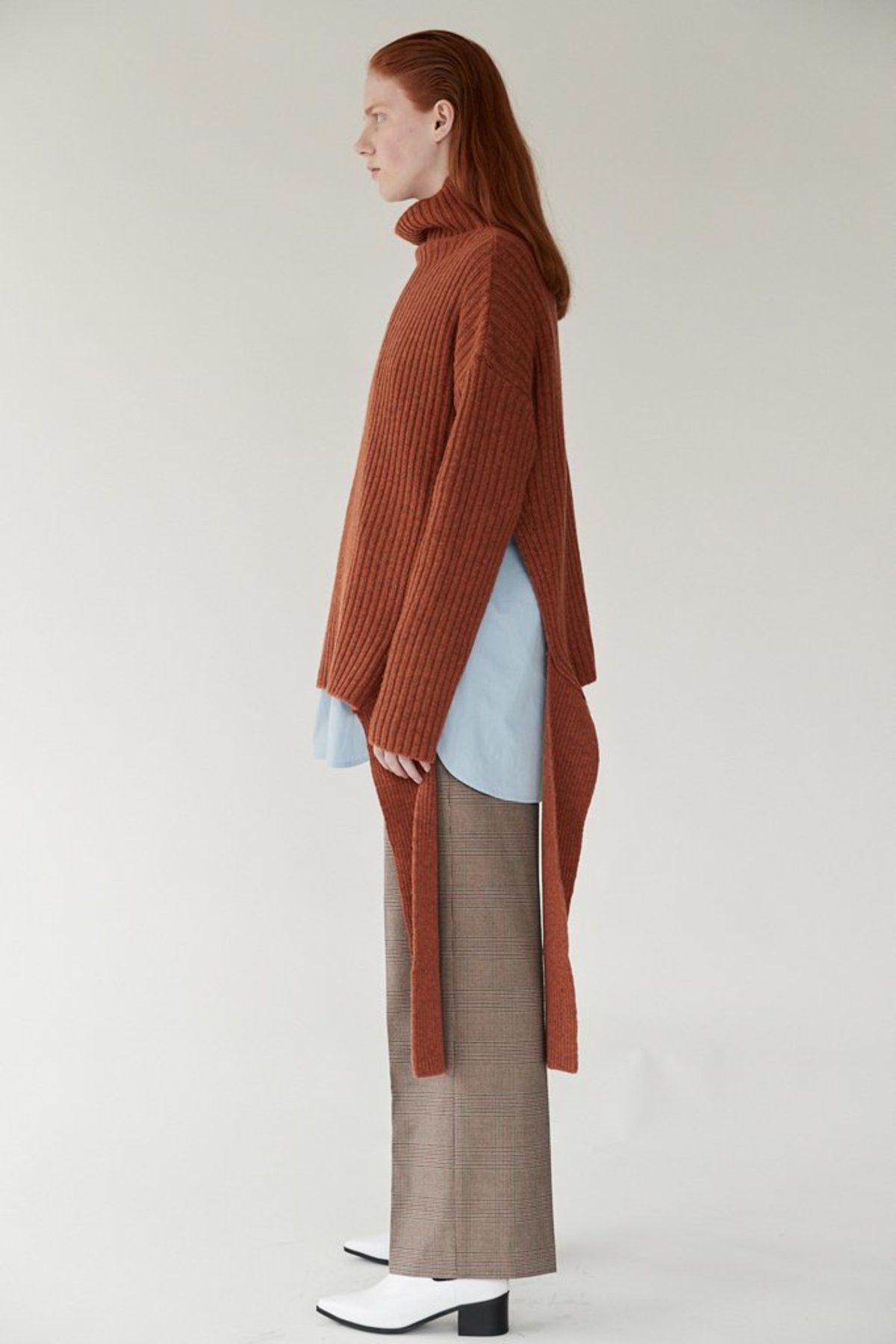6e3a11dec Mijeong Park Ribbed Side Tie Pullover - Rust