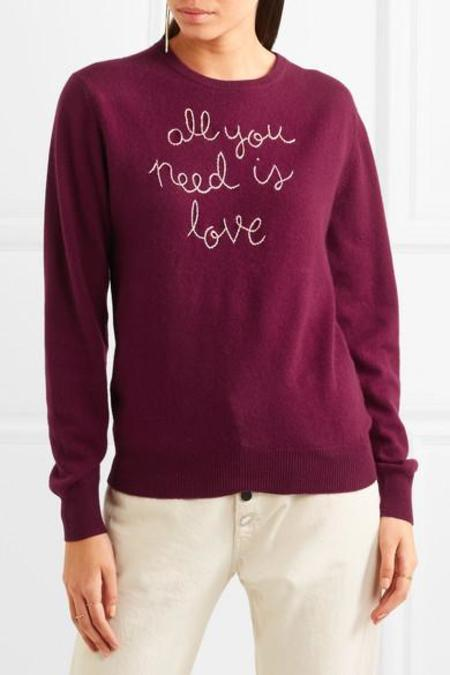 Lingua Franca All You Need is Love Embroidered Sweater