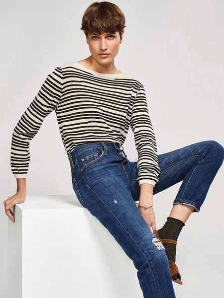 Bellerose Nedan Wool Stripe Knit - Black/White