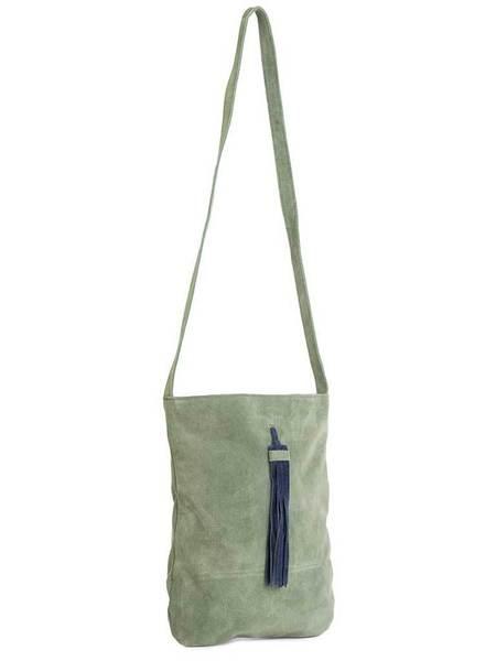 Nice Things Suede Tote Bag - Green/Blue