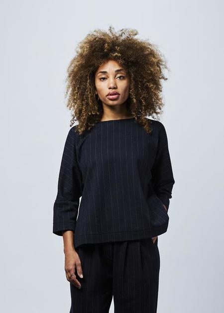 Odeeh Pinstripe Wool Top - Navy