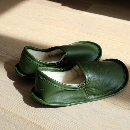 Woolfell x Muddy George Leather Slippers - Olive Green