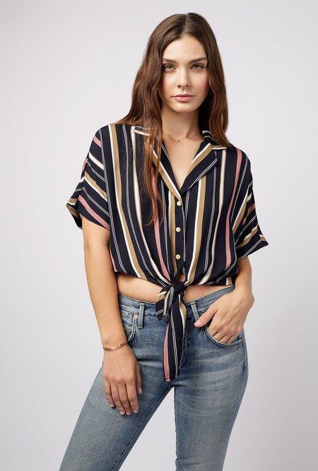 Azalea Stripe Button Down Tie Top