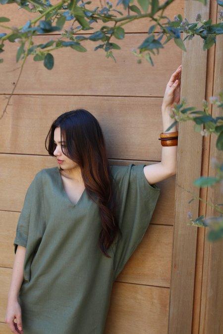 Ginger Linen Caftan - Moss Green