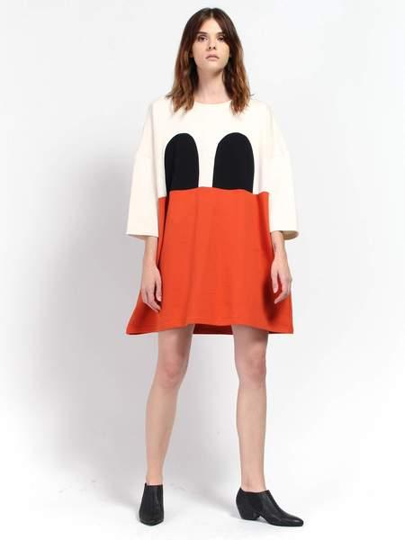 R/H Mickey Square Dress - Black/Orange