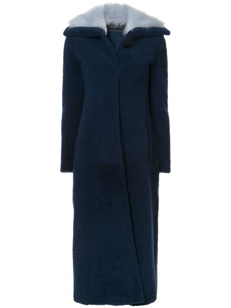Brandon Maxwell Long Shearling Coat - Blue