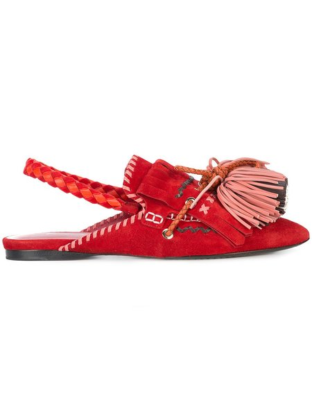 Carven Slingback Tassel Slippers - Red