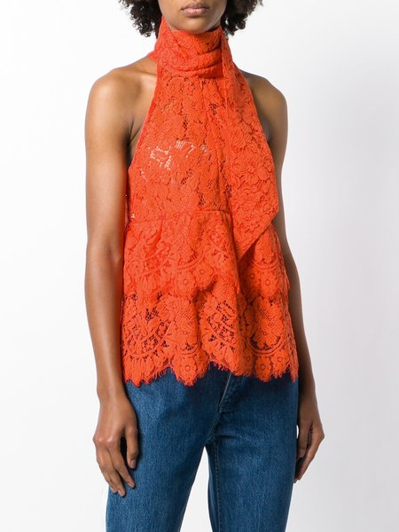 Ganni Jerome Lace Top with Neck Tie - Big Apple Red