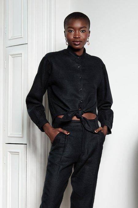 Unisex Blluemade Tie-Front Shirt - Sumi Black