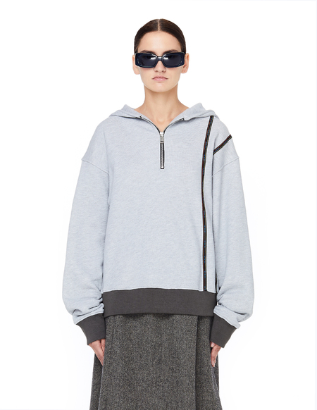 Enfants Riches Deprimes Zip Collar Hoodie - Grey Melange