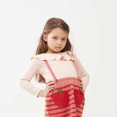 Kids Oeuf NYC Long Sleeved T-shirt With Ruffled Collar - Light Pink