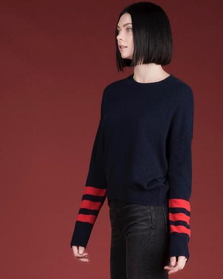27 Miles Milicent Crew Neck sweater - Navy/Tomato