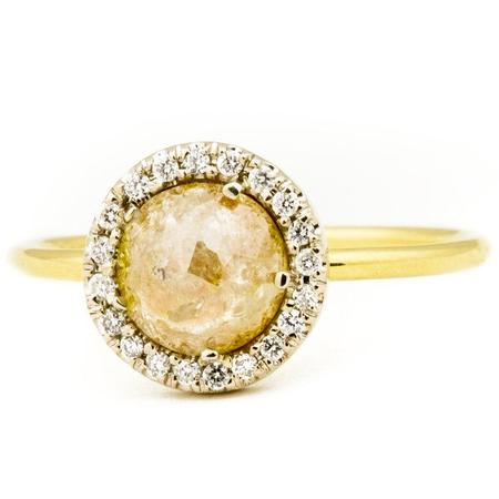 Boudov Medium Rustic Halo Ring - Yellow Gold