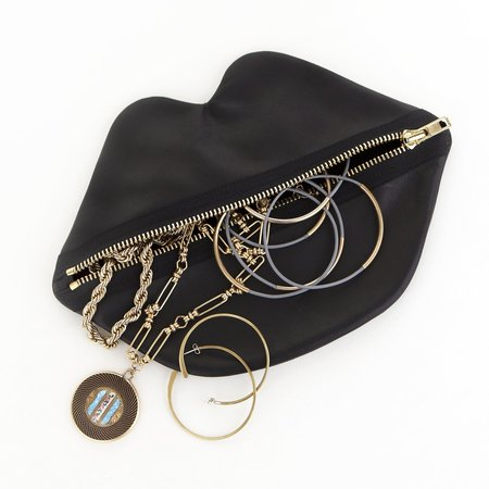 Claflin, Thayer, & Co Lips Bag - Black Leather