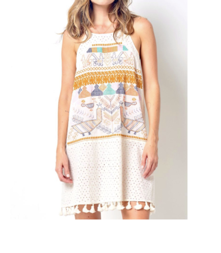Corey Lynn Calter Zolita Embroidered Dress with Tassels - Multi